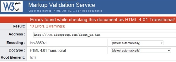 Before Screenshot of Adec About Page Validation