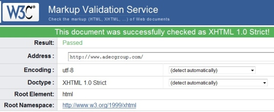 After Screenshot of Adec XHTML Homepage Validation