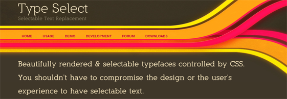 TypeSelect Screen Shot