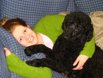 Meg and our new standard poodle, Sarkozy (Bear likes to call him Grover)